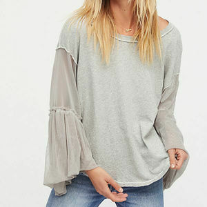 Free People Sheer Mesh Bell Sleeve Top HW7049